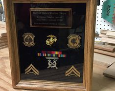 18 x 24 Military Shadow box Military Retirement Parties, Military Shadow Box, Wooden Shadow Box, Flag Holder, Military Careers, Beautiful One, Display Case, Solid Oak, Memorial Day