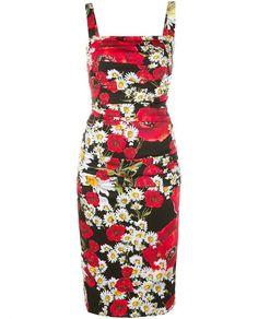 DOLCE & GABBANA Floral Print Silk Dress. #dolcegabbana #cloth #