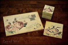 Carte postale rose botanica wedding invitation with matching favor box and table numbers - Vintage Wedding stationery - Beyond Verve