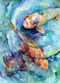 Koi Fish, Submerged 5 by Cathy Quiel Koi Painting, Watercolour Painting, Watercolors, Fish Paintings, Koi Art, Fish Art, Watercolor Fish, Watercolor Animals, Carpe Koi