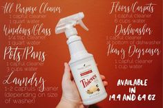 Some easy recipes for your Thieves cleaner! Remember this bottle is a concentrate, so it will last you an extremely long time.
