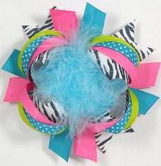 Zebra Pink Teal Lime Boutique Bow OTT Bows Over the Top Bows. $12.00, via Etsy.