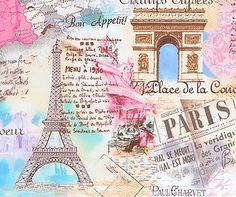 Paris Pastel Cotton Fabric by Timeless Treasures