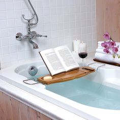 Ideale Ergänzung für jedes Badezimmer: Badewannenablage - Bambus-Umbra