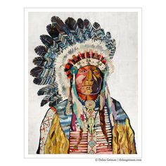 Native American Portrait, Heritage Collection: The Chief, Vintage Paper Collage by Dolan Geiman