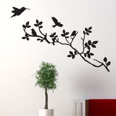 LIVE LAUGH LOVE Living Room tree branches birds stickers Wall Art Stickers vinyl