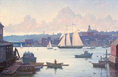 """Schooner Virginia Departing Gloucester Harbor,"" Peter Tysver, oil on canvas, 24 x 36"", collection of the artist."