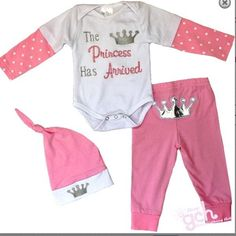 Newborn Baby Girl Take Home Hospital Set pink Princess Has Arrived outfit 0-3 m #Unbranded #DressyEverydayHolidayTakeHomeHospital