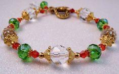 Christmas Bracelet Christmas Jewelry Crystal Bracelet Beaded Jewelry Beaded Bracelet Holiday Jewelry Gold Jewelry. $15.00, via Etsy.