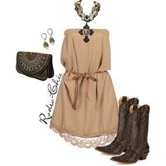 By Rodeo-Chic on Polyvore, boots by @corralboots  with strapless dress, Western, Country