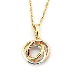 Infinity rings pendant in 14k tri color gold infinity pendants 14k yellow white and rose gold tri color small love knot pendant necklace aloadofball Choice Image