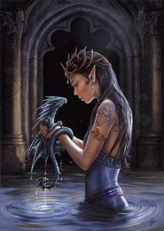 "Water Dragon Card - Otherworldly beauty shares a playful moment with her aquatic friend. Card measures 6 3/4"" by 4 3/4""."