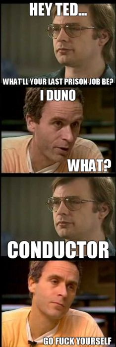 Ted Bundy, Jeffrey Dahmer Electric Chair - I have a sick sense of humor for laughing at this.