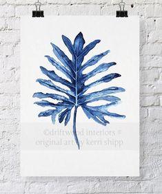 Tropical Leaf II Watercolor Print in Denim by driftwoodinteriors #watercolorarts