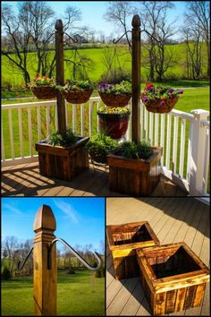 Decorate your deck or patio with pretty flowers in a hanging basket planter! This DIY project teaches you how to build a planter with a hanging basket column!