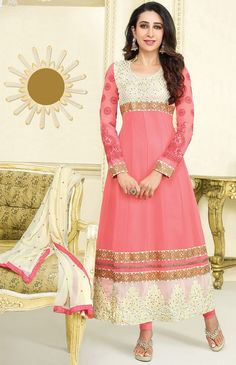 USD 33.51 Karisma Kapoor Salmon Georgette Anarkali Suit 54527