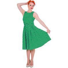 Šaty Dolly and Dotty Lola Dark Green Polka Puntíkaté krásky, kterým se prostě neříká ne, navíc za báječnou cenu! Skvělý model vhodný na retro večírek či běžné nošení. Střih ve stylu Audrey s lodičkovým výstřihem, projmuté v pase s rozšířenou sukní s pravidelnými sklady, zapínání na krytý zip v zadní části, součástí pásek se sponou potaženou látkou ve stejném vzoru. Velmi příjemný, lehčí materiál (95% bavlna, 5% elastan), díky kterému se dobře nosí a jsou velice pohodlné. Široká sukně vybízí…