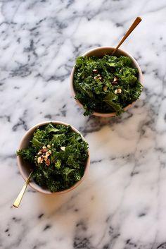 Sesame Kale Salad with Roasted Almonds {use favourite vegan sweetener instead of honey}