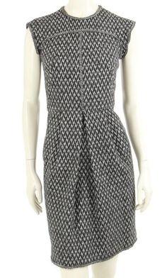Oscar de la Renta Black & Grey Wool Cashmere Cap Sleeve Dress Fall 07 Size 2 #OscardelaRenta #Shift