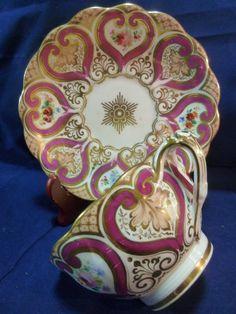 Antique Ridgway Tea Cup and Saucer H P Puce Heart Floral Split Handle C1820