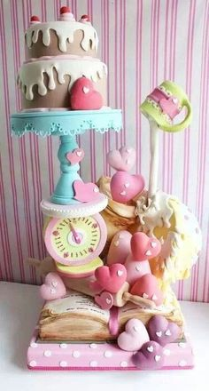 Serious dowelling in this cake! 'Baked with love' cake Gorgeous Cakes, Pretty Cakes, Cute Cakes, Amazing Cakes, Gravity Defying Cake, Gravity Cake, Cake Wrecks, Crazy Cakes, Fancy Cakes
