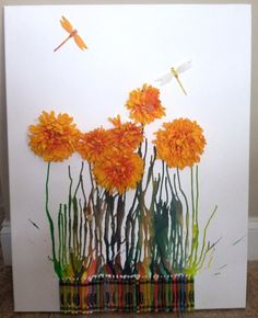 Melted Crayon:: Dragon Flies & Orange Flowers!