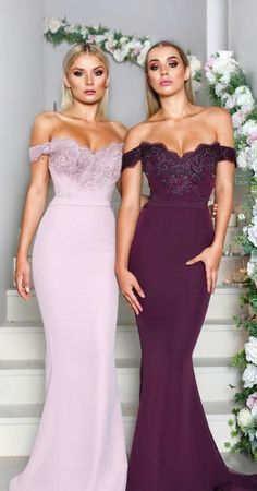 gorgeous off the shoulder mermaid long bridesmaid dresses, pink long bridesmaid dresses, maroon bridesmaid dresses