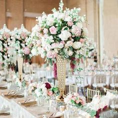 Wondering which wedding reception decoration supplies to buy? There are themed selections of reception decoration supplies in local stores and online retail Trumpet Vase Centerpiece, Chandelier Centerpiece, Wedding Table Centerpieces, Wedding Flower Arrangements, Flower Centerpieces, Vases Decor, Flower Vases, Floral Arrangements, Wedding Flowers