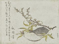 Katsushika Hokusai 1790-1800c Still Life of Two Flat Fish and a Branch of Plum Blossom colour woodblock print Rijksmuseum, Amsterdam