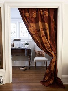 Blankets Used As Drapes-A European look to accent a doorway.Draped in an oversized doorway by Velcro strips, luxurious blankets give . Doorway Curtain, Hallway Curtains, Tapestry Curtains, Drapery Fabric, Large Shower Curtains, Outdoor Drapes, Display Family Photos, Window Coverings, Window Treatments