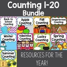 A Year of Counting 1-20 Activities.  Includes counting on a line, counting scattered groups, ten frames, and groups to 20