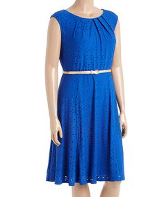 London Times Royal Blue Belted Fit & Flare Dress - Plus by London Times #zulily #zulilyfinds