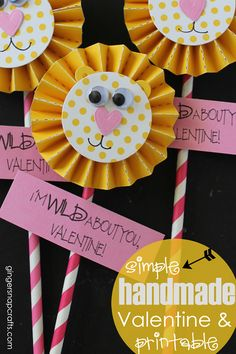Simple Handmade Valentine & Printable ~ I'm Wild About YOU, Valentine at GingerSnapCrafts.com #valentine