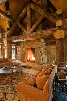 Fireplace! I REALLY love this, and I'm keeping it as a model for my future log home.