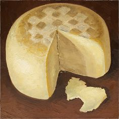 """""""Divine Providence"""" The folks at Narragansett Creamery in Providence, Rhode Island sent me a whole wheel of this semi-aged Gouda-style cheese, a delicious blonde beauty!  12x12"""" oil painting available at www.mikegeno.com  #cheese #Cheeseportrait #cheeseart #cheesepainting #foodart"""