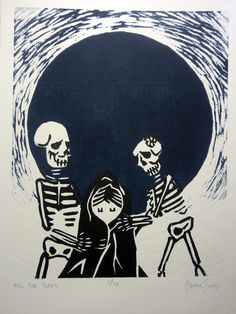 """""""All the Tears"""" 9'' x 12''. limited ed. woodcut print"""