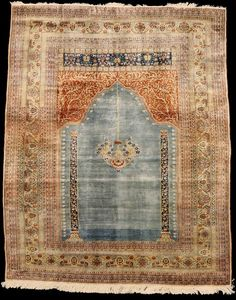 Rare Persian Tabriz Silk Prayer Rug ( 172 )