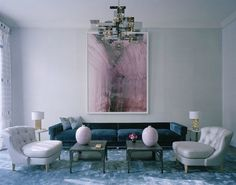 david collins silvery blue living room in london