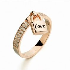 Exquisite color of fire Full Zircon inlaid love locks of love ring  - USD $30.95