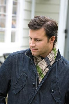 Man's Scarf Knook ePattern - This digital download pattern features the perfect scarf to knit for your favorite guy with your Knook. This masculine scarf is 8 inches wide and 42 inches long. Featuring a rib-textured stripe, the scarf is made using medium weight yarn and a size G (4 mm) Knook.