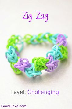 How to Make a Zig Zag Bracelet - Rainbow Loom video tutorial