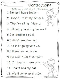 contractions activity via Petersons Pad: freebies 2nd Grade Grammar, First Grade Words, First Grade Phonics, 2nd Grade Ela, First Grade Writing, First Grade Activities, Teaching First Grade, 2nd Grade Reading, Student Teaching