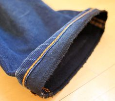 How to hem jeans while keeping original hem visible.