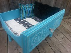 Shabby chic pet bed upcycled from an old dresser drawer.
