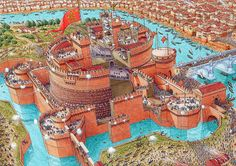 Cutaway panorama of Castel Sant' Angelo in 1527 featuring the siege of Rome