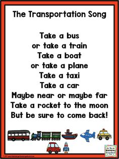 My Community: Transportation poem! This fun poem is a great addition to a community helpers theme, transportation unit or community theme! Transportation Preschool Activities, Transportation Theme Preschool, Preschool Songs, Preschool Themes, Preschool Learning, Space Activities, Kids Poems, Finger Plays, Education Quotes