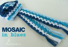 BUFANDA MOSAICO (patrón)   (Crochet)         I love scarves with lengthwise stripes, and that is what inspired me to create this scarf…  ...