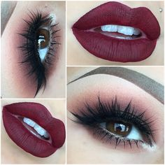 #red smokey eye, black winged eyeliner, silver inner corner highlight, red lips | #makeup @julisad_mbm