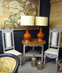 Pair of Vintage Mid Century Ceramic Lamps with New Drum Shades