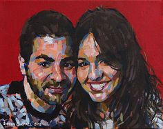 Valentines Couple on Red. Twin portrait in acrylics on canvas by Simon Birtall.